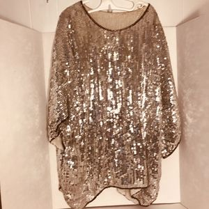 Tops - Vintage Silver Sequin & Beaded Tunic Batwing Sz M